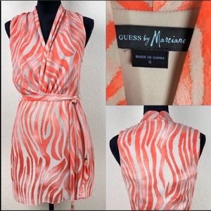 Guess by Marciano coral and tan sleeveless dress